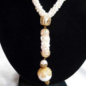 Mid Century Pendant Crocheted Tassel Necklace Art
